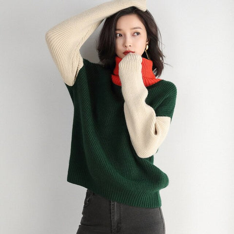 Highneck Sweater Woman Pullover Loose Clothes Color Oversized Patchwork Sweater Knitting Pullovers