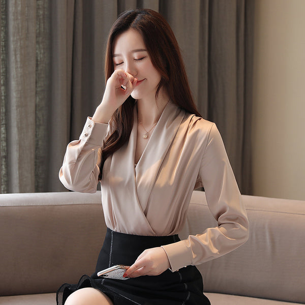 Plus Size Elegant 2020 Summer Women Blouse V-Neck Long Sleeve Chiffon Ladies Shirts Solid Color Female Tops Brand Top Clothes
