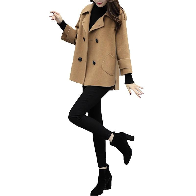 Autumn Winter Clothes Women Short Wool Coat Casual Woolen Coats Classic Double-breasted Jacket Elegant Wool Blend Overcoat D132