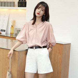 New Classic V-neck Blouse Ladies2020 Women Elegance Sweet Chic Single-breasted Lantern Sleeves Shirts White Clothes Plus Size