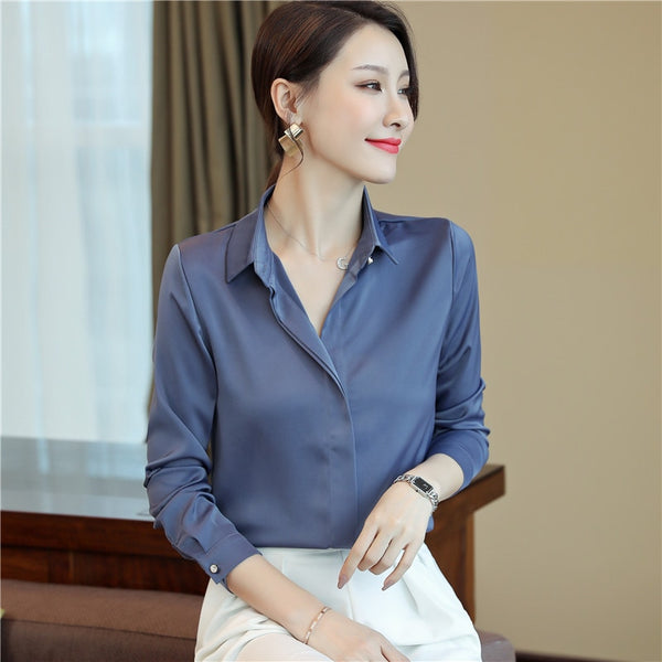 long Sleeve Blouse Female New Women's Shirt Classic Chiffon Blouse Female Plus Size Casual Shirts Lady Simple Style Tops Clothes