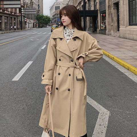 Classic Khaki Double-Breasted Women Trench Coat Long Belted Office Lady Duster Coat Female Cloak Spring Autumn Outerwear Clothes