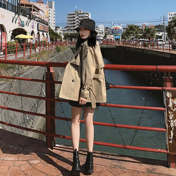 Classic Khaki Short Double-Breasted Trench Coat for Lady with Belts Flaps Women Windbreaker Spring Autumn Female Clothes