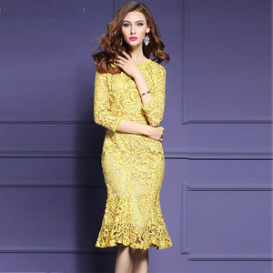 2020 Luxury Lace Dress Yellow Midi Wrap Dress Noodles Elegant Ladies Evening Party Dress Women Clothes Fashion Clothing