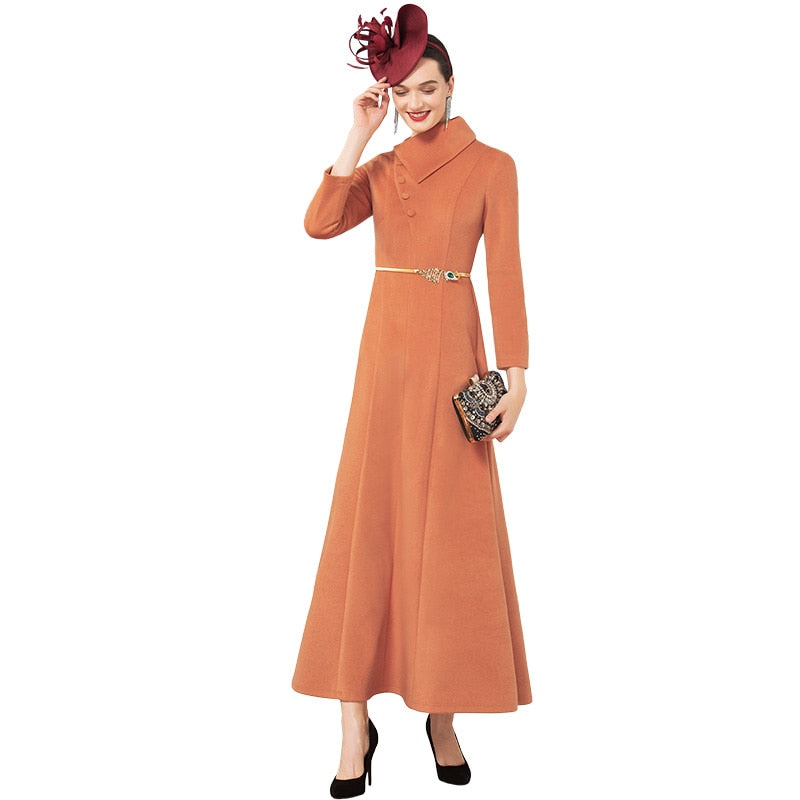 Office Lady Luxury Autumn Winter Cotton Wool Long Dress British Style New Year Party Night Dress Evening Maxi Clothing
