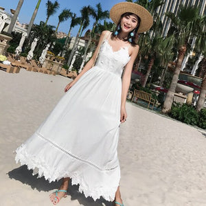 Summer Women High Waist White Lace Sundress Female Long Sexy Girl Party Vacation Korean Vintage Strap Maxi Beach Dress Retro New