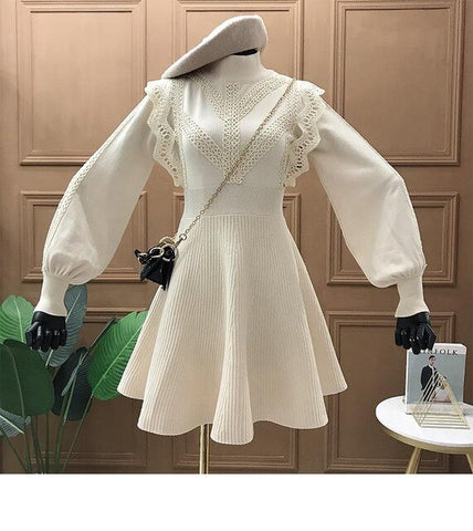 2020 Spring Knitted Lace Sweater Dress Women Lantern Sleeve Half-turtleneck A-line Pleated Dresses Korean Fashion Solid Vestidos