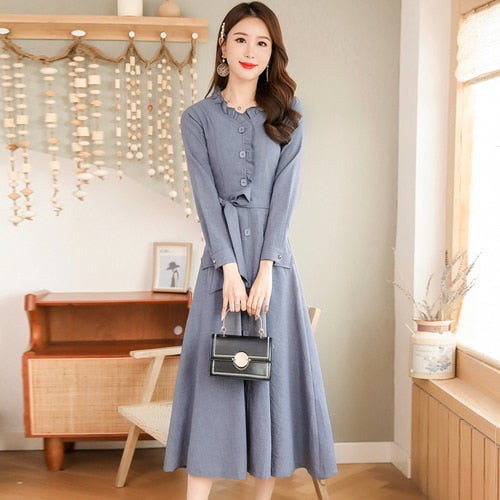 Autumn New Arrival High Quality  Korean Stand Collar Long Sleeve Woman  Cotton Linen Long Dress Plus Size M-3XL