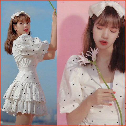 kpop BLACKPINK LISA korean white sweet V-neck zipper dress women summer streetwear temperament elegant puff sleeved mini dresses
