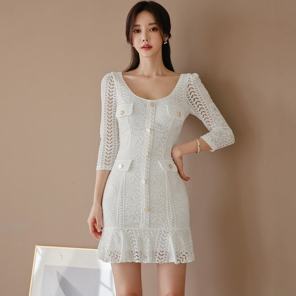 White Lace Dress Women Elegant Slim 3/4 Sleeve Lace Ruffle Sexy Package Hip Mini Dress