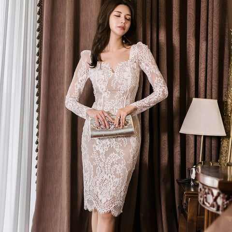 Autumn Korean Office Ladies Lace Dress Slim High Waist Bag Hip Bodycon Dresses Women Mesh Patchwork Midi Sexy Dress TA2001