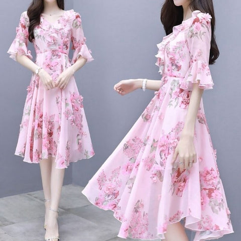 Summer dress fashion printed chiffon dress female summer 2020 new Korean version of the long  waist slim fairy dress