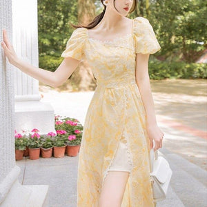 Elegant Dress Women Puff Sleeve Retro Vintage Dress 2020 Korean Style A-line Office Women French Floral Midi Dress Summer