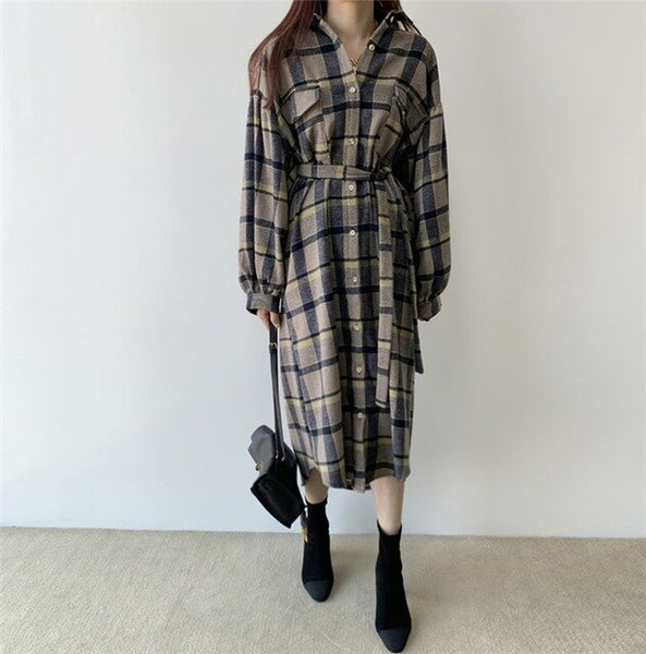 New 2020 Spring Women Dress Pockets Long Casual Loose Vintage Korean Style Plaid Lantern Sleeve Lace Up Dress