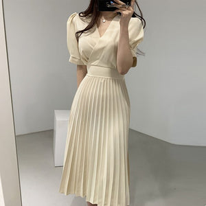 2020 Summer Chiffon Korean A-line Pleated Long Dress Women Short Sleeve V-neck Belted Fashion Office Elegant Ladies Vestidos