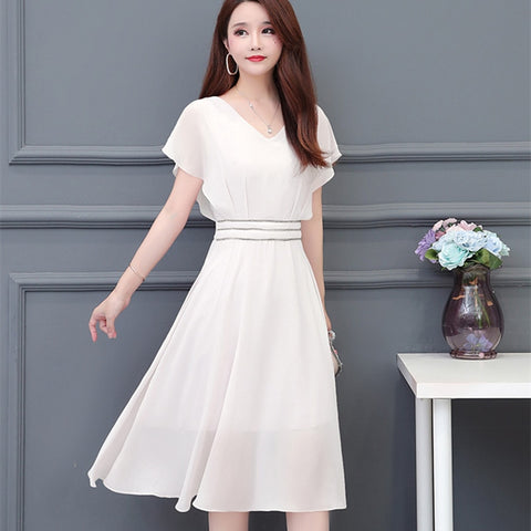 Korean Chiffon Dress for Women High Waist Black Dress Elegant Women Ruffle Dresses Plus Size Vestidos Verano Lady Midi Dress