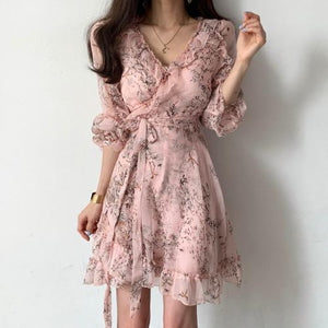 Dresses Woman Party Night 2020 Spring Korean French Floral V-neck Ruffle Edge Snow Spinning Mesh Patchwork Dress Women