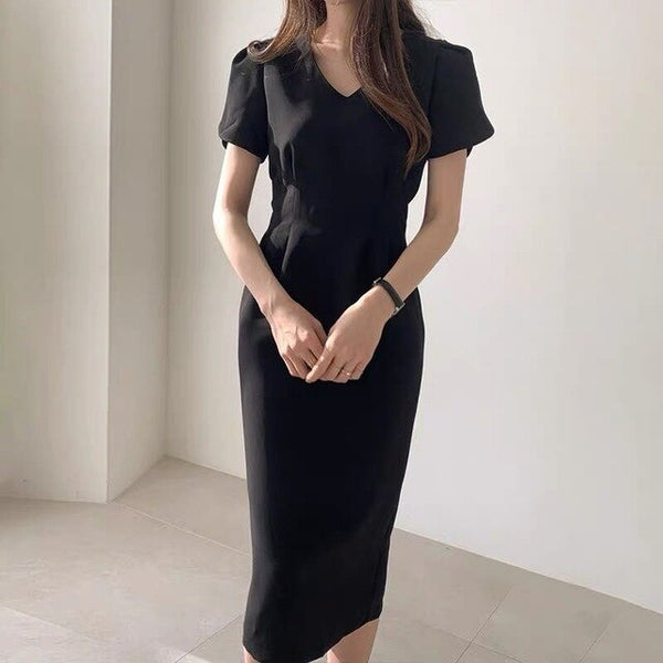 2020 Summer Short Sleeve Women Office Lady Pencil Dress Women Elegant Long Robe Korean Chic Casual Dress V-neck Vestidos Mujer