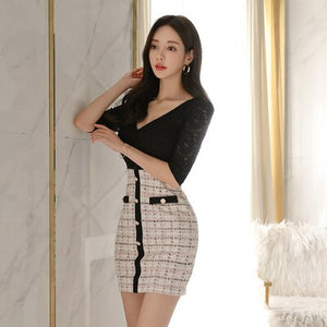 Brand Dress Women 2020 Summer Plus SizeXL Club Elegant Sexy Korean Style Lace Package Buttocks Clothing