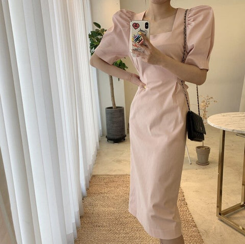New Korean Style Midi Dress Women Summer New 2020 Solid Color ladies Dress Slim Puff Sleeve Bow Waist Women Clothing