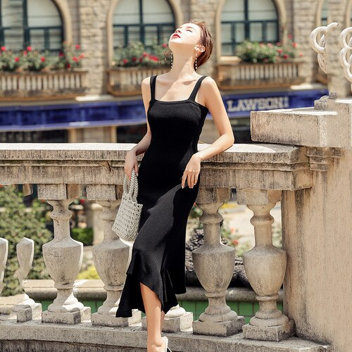 Summer Sweet Knitted A-line Party Dress Women 2020 Korean Style Sexy Sleeveless Dress Solid Irregular Midi Dresses Vestidos 9328