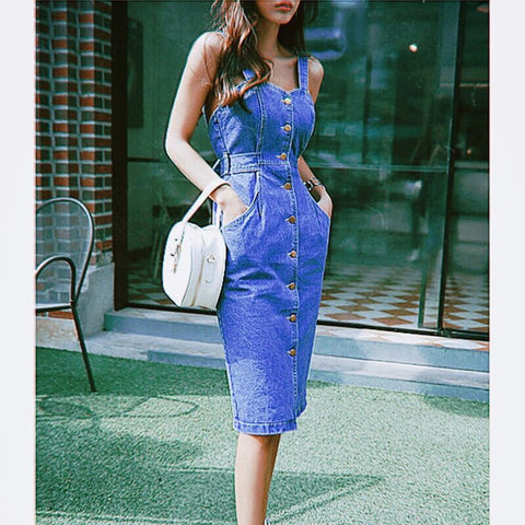 Vacation Backless Bow Tie Strap Jeans Dress Women 2020 Korean High Waist Pencil Midi Overalls Female Club Denim Summer Dress