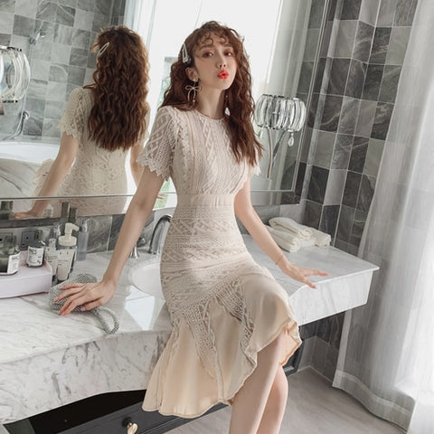 Korean 2019 Casual Women Dresses Fashion Zip High Waist Brief Dresses Loose Sexy Lace Vintage Vestidos De Fiesta