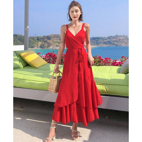 Summer Women Red Backless Straps Sundress Fairy Elegant Casual Party Vacation Long Beach Dress Vintage Korean Runway 2020 Dress