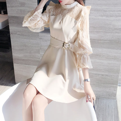 2020 Autumn New Dress Women Korean Office Ladies Elegant Ruffles Dress  A-line Long Sleeve Lace Sexy Dress Vestidos Female