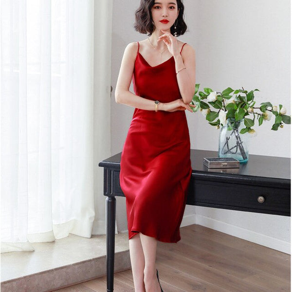 Sexy Backless A-Line Silk Summer Dresses Camisole Spaghetti Strap Long Red Satin Dress Women Korean Elegant Yellow Beach vestido