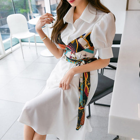 Korean Style 2019 Summer Women Elegant Fake Two Piece Shirt Dress Office Lady Fashion Print Bow Belt Patchwork Midi Long Dress
