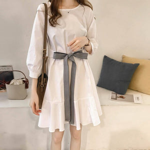 Dress Women Half Sleeve O-neck Drawstring High Waist Trendy Korean Sweet Lovely Girl Dresses Loose Leisure Travel All-match Chic