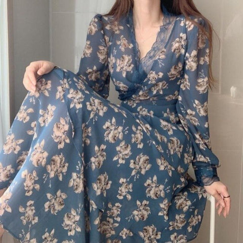 2020 Spring Chiffon Printed Lace Patchwork Long Dress Women Korean Vintage Fashion Sexy Dresses Long Sleeve V-neck Vestidos