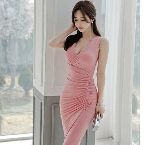 2020 spring and summer new Korean fashion slim pink pleated bag hip dress Sleeveless  Office Lady