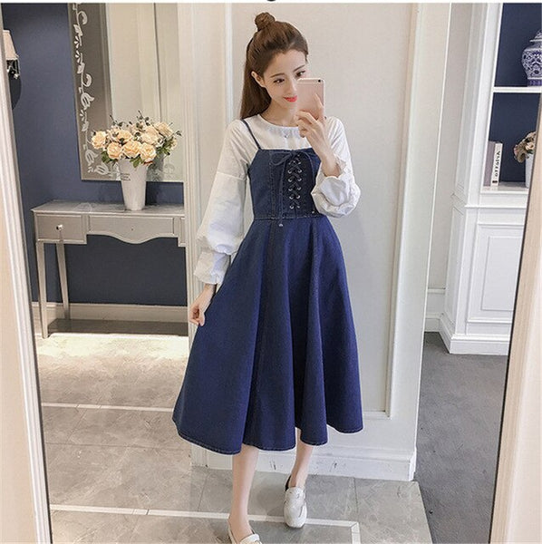 2020 Spring Women Korean Style Sweet Denim Dress Sleeveless Zipper Ribbon High Waist Female Midi Slip Dress Woman Clothes