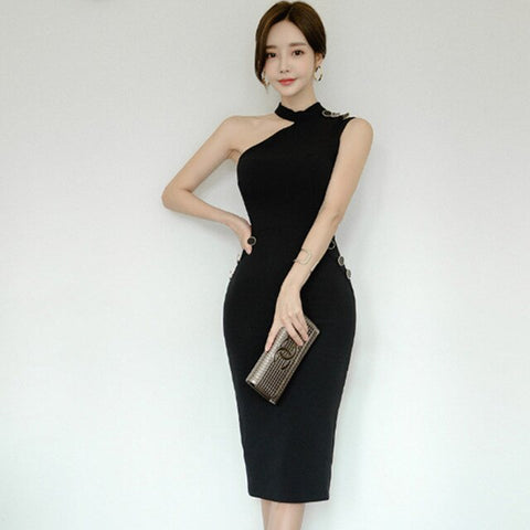 Summer Work Office Party Dresses Women Vintage Slim Sexy One Shoulder Pencil Dress Elegant Korean Bodycon Vestidos