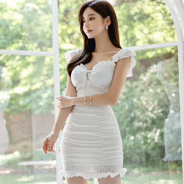 Women Elegant Sexy Lace Bodycon Vestidos 2020 Summer Short Pencil Dress Simple Slim Casual Party Sheath Dress Korean