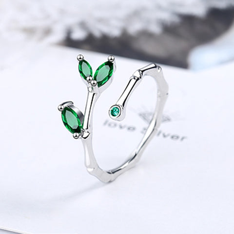 Fashion Female Wedding Jewelry Silver Color Bamboo Leaf Micro Pave Green Zircon Stone Adjustable Rings for Women Anillos Mujer