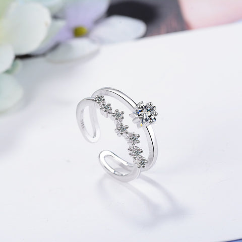 Romantic Mosaic Zircon Star Double-layer Adjustable Ring 925 Sterling Silver Wave Stackable Zircon Rings For Women Gift Bague