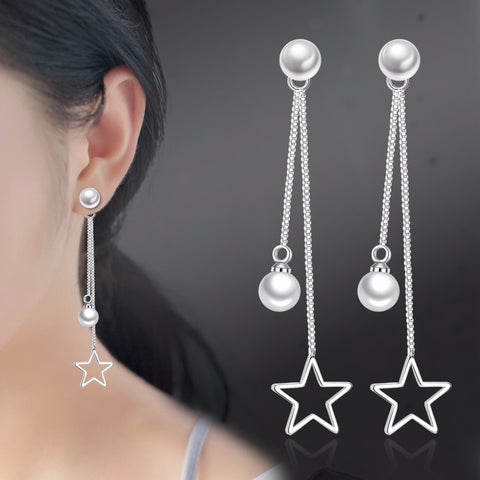 Romantic Silver color Earrings For Women Long Tassel Ear Line Zircon Pearl Drop Earrings pendientes oorbellen brincos