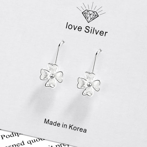 Cute Silver color Luck Flower Stud Earrings for Women Girl Fine Jewelry Gifts Oorbellen Dropshipping Christmas Day