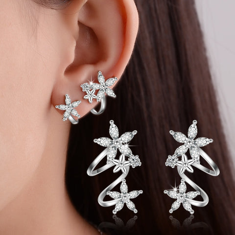 925 Sterling Silver Butterfly Star Flower CZ Zircon Stud Earrings pendientes oorbellen boucle d'oreille Gift