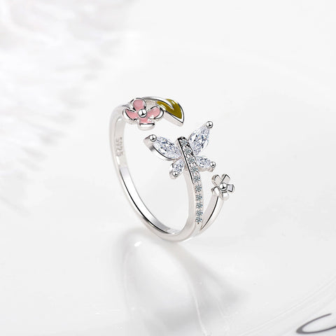 Classic 925 Sterling Silver CZ Zircon Rings for Women Cute Butterfly with Flower Mosaic CZ Wedding Jewelry anillos anel