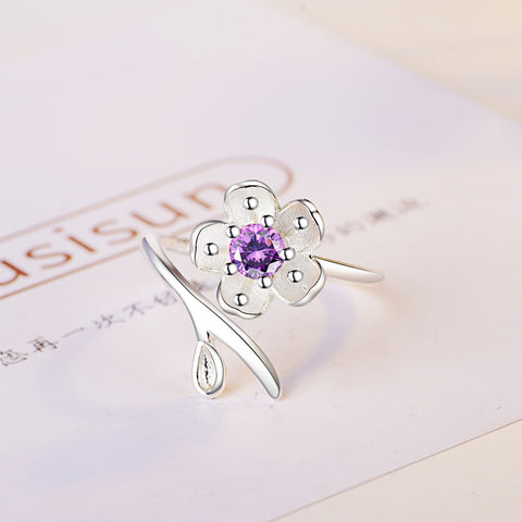 Fashion Female Big Crystal Purple CZ Stone Ring Silver color Cute Purple Peach blossom Wedding Adjustable Rings Promise Ring