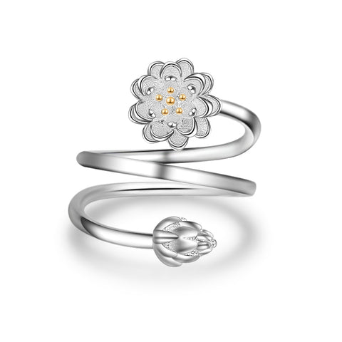 Elegant Silver color Opening Ring Double layer Handmade Dazzling  Clear CZ Lotus Flower Finger Rings Wedding Jewelry anel