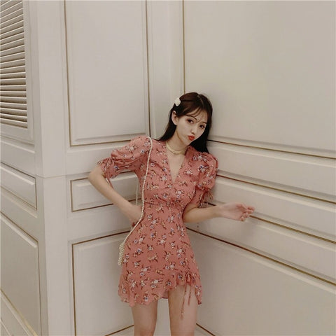 new arrival Floral ruffle dress women V neck Irregular edge summer dress casual korean dress