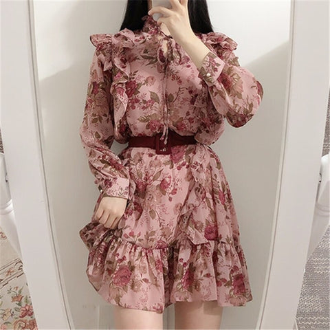 2020 korean Chic Retor Sweet Gril Dresses Women Ruffles Chiffon Floral  Print Long Sleeved  Temperament Vestidos Female