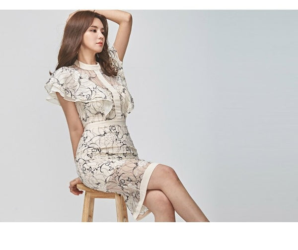 Summer Dress Women Bodycon Sexy Dress 2019 New Korean Edition Temperament Stitching Fashion Lace Hollow Butterfly Sleeve Dress