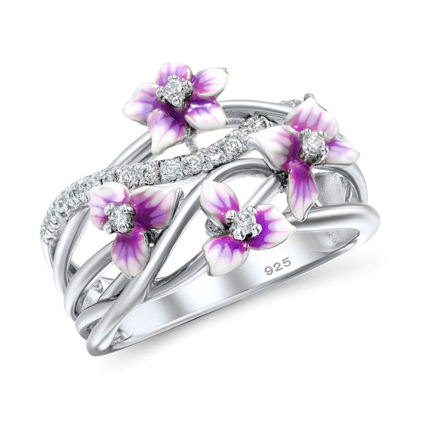 Authentic 925 Sterling Silver Stackable Violet Drop Glue Ring Daisies Flower Zircon Finger Rings for Women Jewelry Gift Bijoux