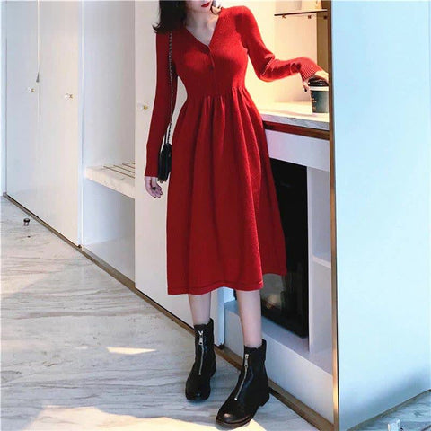 Dress Korean summer vestidos new arrival new waist slimming fashion V-neck long knit dress